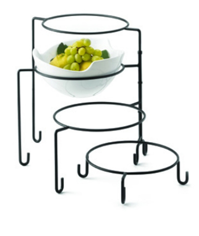 Tablecraft BKRR3 Round 3 Piece Riser Set, Metal, One Each 8 & 6.75 & 6 in Dia, Black