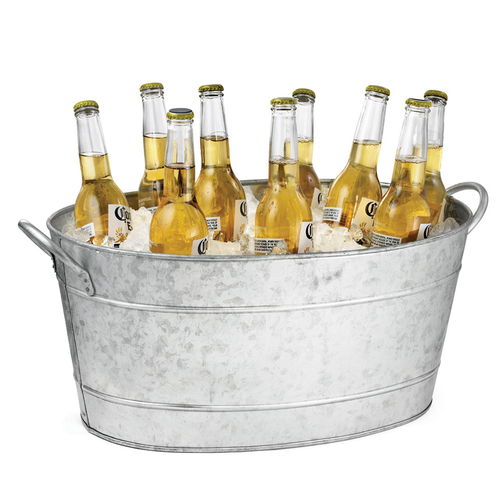 Tablecraft BT1914 Oval Beverage Tub, Double Wall, 19 L x 14 W x 9 in H,  Galvan