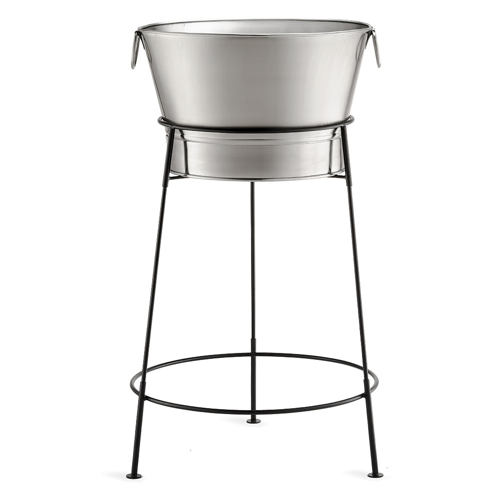 Tablecraft BT2137N Stainless Steel Beverage Tub w/ Black Stand, 20 x 37.5 in