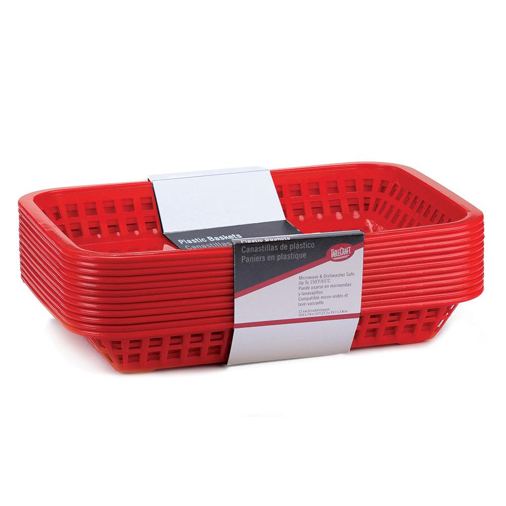 Tablecraft C1077R Cash And Carry Grande Baskets 10.75 x 7.75 x 1.5-in Rectangular Red Restaurant Supply