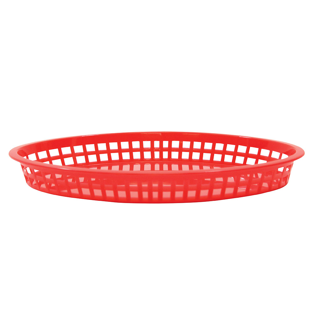 Tablecraft C1086R Cash And Carry Texas Baskets, 12.75-in x 9.5-in x 1.5-in, Oval, Red
