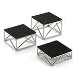 Tablecraft CR3 3-Piece Round Metal Riser Set w/ Non-Slip Rubber Tops, Black