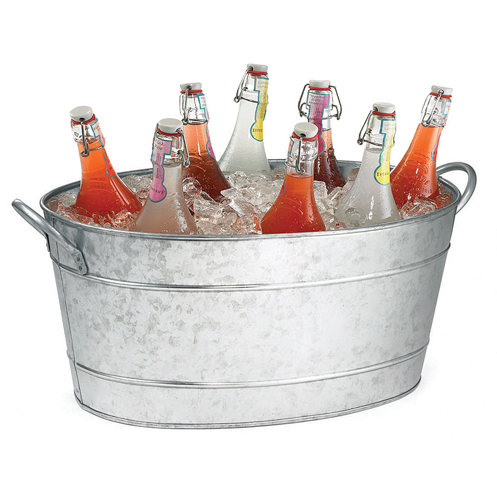 Tablecraft HBT1914 Oval Beverage Tub, 19 x 14 x 9-in, Galvanized Steel