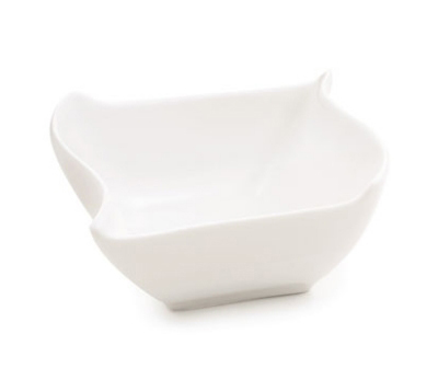 Tablecraft PB53 Square Glacier Collection Porcelain Sauce Dish, 4 x 3.25 in, Wh