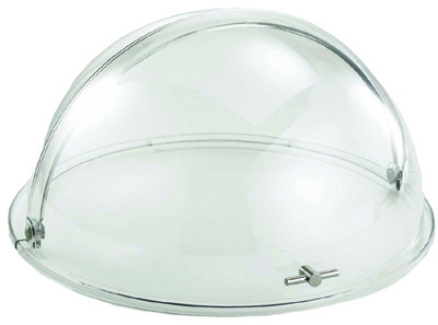 Tablecraft PC2N Dome Tray, Round Mirror w/ Chrome Plate, Polycarbonate Cover w/ Stainless