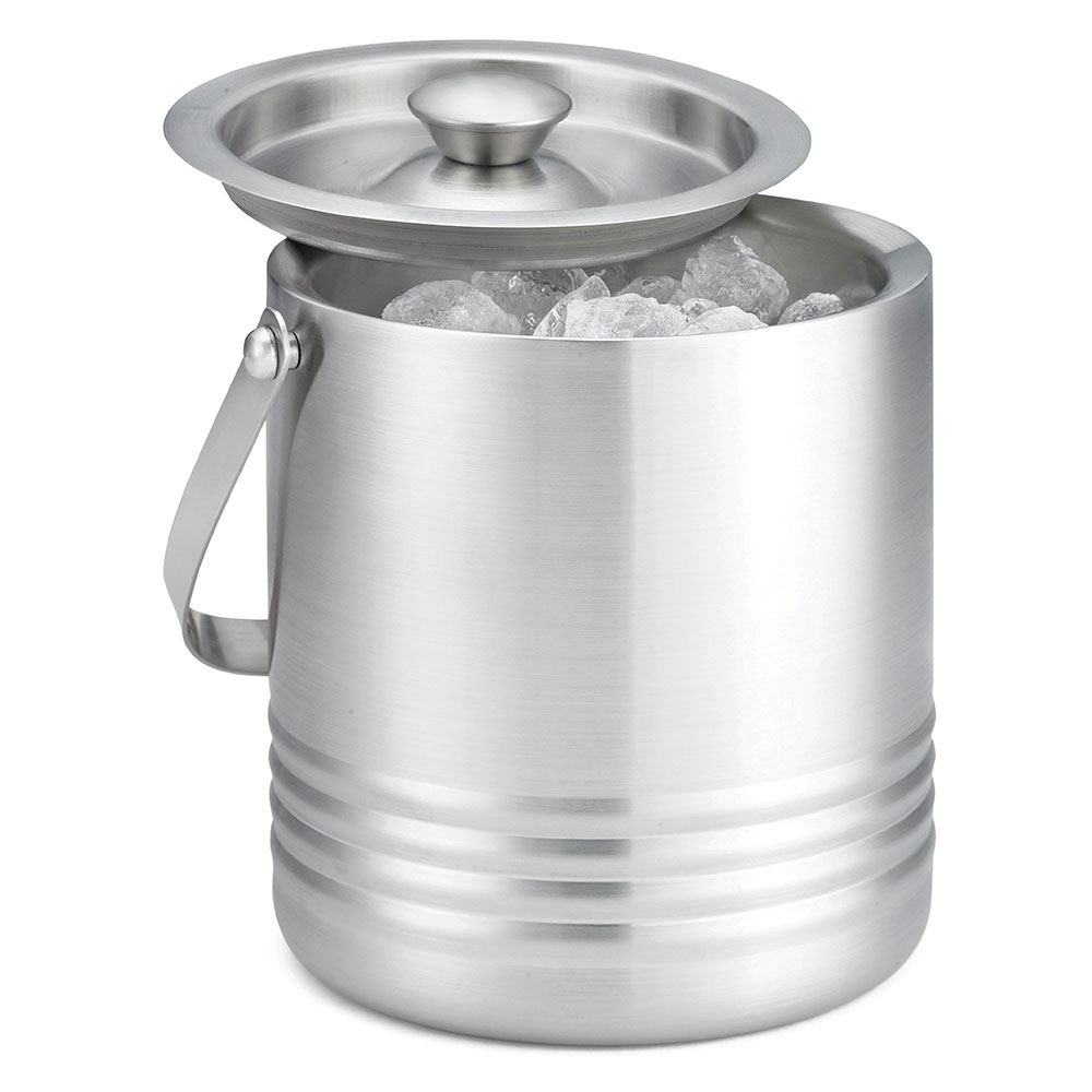 Tablecraft RIB76 Ice Bucket w/ Double Wall Insulation, 7 x 6 x 6.5-in, Stainless