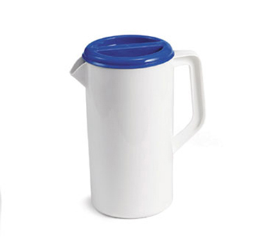 Tablecraft 144W 2-1/2-Quart Pitcher, Plastic, White, 3-Way Sanitary Blue Lid