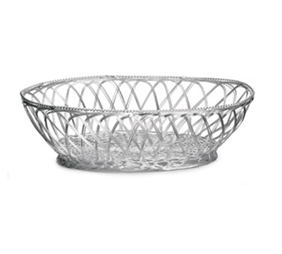 Tablecraft 3176 Round Victorian Basket, 10-1/2 x 7-1/2 x 3-1/4-in, Silver Plated