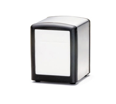 Tablecraft 3219BK Stainless Steel/Plastic Napkin Dispenser, Half Size, Black