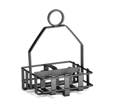 Tablecraft 606RBK Black Powder Coated Condiment Rack w/ Built-In Merchandising Ring