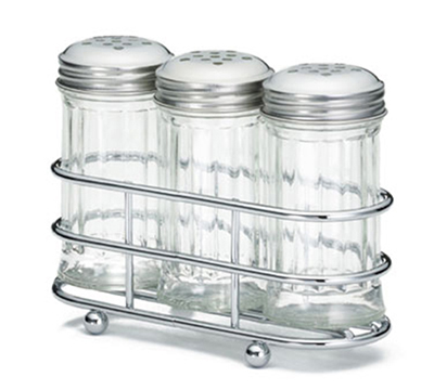 Tablecraft 659N 2-oz Fluted Shaker Set w/ Rack, Stainl