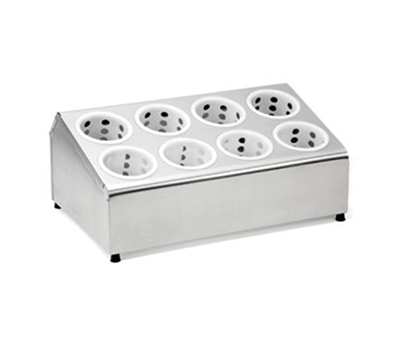 Tablecraft 7082 Stainless Steel Flatware Cylinder Holder w/ Eight Holes, Two-Tier