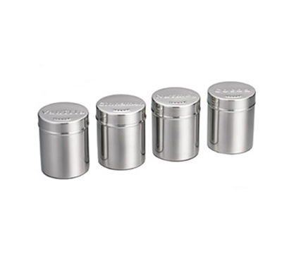 Tablecraft 784 6-oz Stainless Steel Shaker Pack w/ Multi-Pack of Four Lids