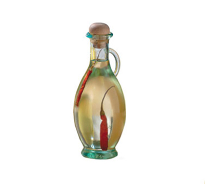 Tablecraft H9220 8-oz Tuscany Green Glass Olive Oil Bottle w/ Cork Stopper