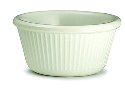 Tablecraft RAM3FB 3-oz Fluted Bone Melamine Ramekin