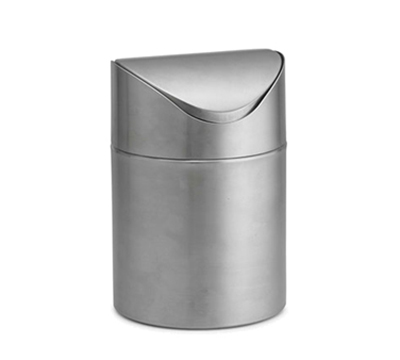 "Tablecraft WM1 6-1/2"" Mini Wastebasket - Stainless"