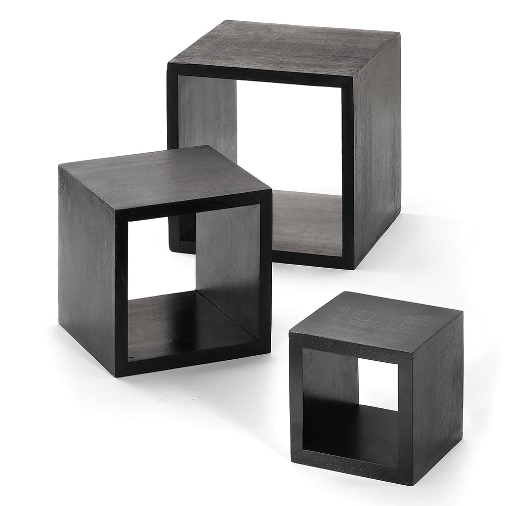 Tablecraft WBK3 Square Wooden Riser Set, 3 Piece, 5 & 7 & 9 in Squares, Black