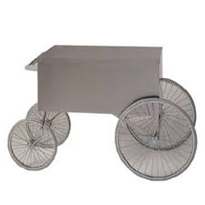 Gold Medal 2013W Popcorn Wagon w/ Stainless Countertop & 4-Spoke Wheels, White, 62x34-in
