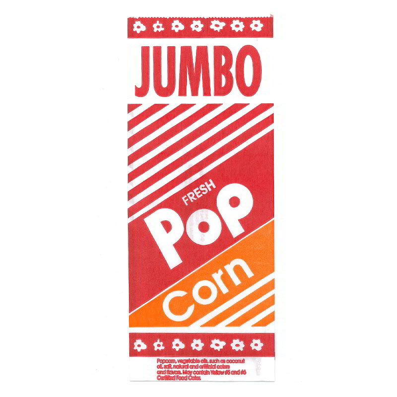 Gold Medal 2055 Popcorn Bags 2 oz Jumbo Bags 4.5 in x 1.12 in Restaurant Supply