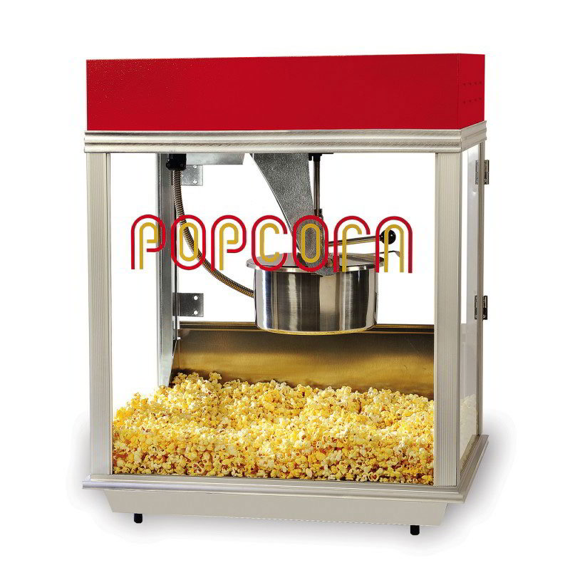 Gold Medal 2121 120240 Econo 14 Popcorn Machine, 14 oz Kettle, Tempered Glass, 120/240 V