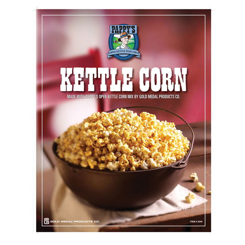 Gold Medal 2546 Pappy's Kettle Corn Poster Laminated Restaurant Supply