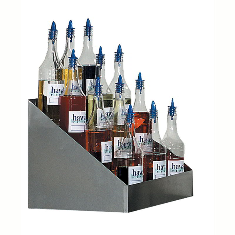 Gold Medal 2725 Tiered Shave Ice Flavor Bottle Rack w/ 20-Bottle Capacity, Stainless