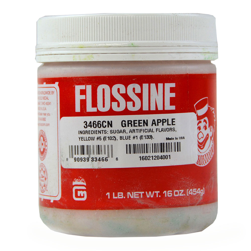 Gold Medal 3466CN Green Apple Flossine, 1-lb Plastic Container