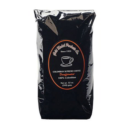 Gold Medal 7014 12-oz Packed Colombian Supremo Decaf Coffee, 12-Foil Bags/Case