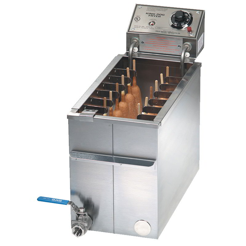 Gold Medal 8068FL Foot Long King Dog Fryer w/ 50-lb Oil Capacity & (2) 7-Position Skewer Clips