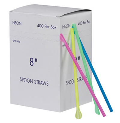 Gold Medal 1120M 8-in Neon Plastic Disposable Spoon Straws , 2-Boxes of 400/Case