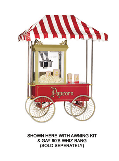 Gold Medal 2129 Gay 90 Red Popcorn Wagon w/ (4)24-in Wheels, Stainless, White