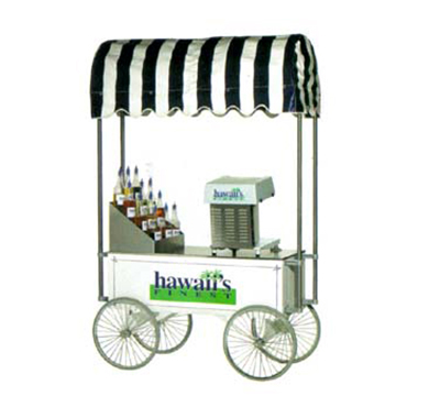 Gold Medal 2129HF Portable Shave Ice Wagon & Awning w/ 4-Spoke Wheels, Stainless, White