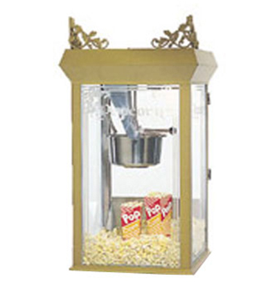 Gold Medal 2131 120208 8-oz Gay 90s Pinto Popcorn Machine w/ Etched Glass & Gold Dome, 120/208V