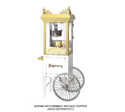 Gold Medal 2659CW Popcorn Cart w/ 2-Spoke Wheels, White