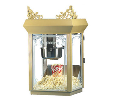 Gold Medal 2660GT 120240 Antique Deluxe Popcorn Machine w/ 6-oz Kettle & Gold Dome,