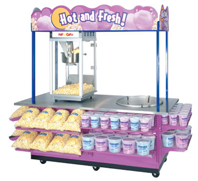 Gold Medal 2951 Combo Popcorn & Cotton Candy Cart w/ Locking Doors & Stainless Countert