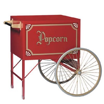 Gold Medal 3118PC Medium Popcorn Cart w/ Heavy Duty Wheels & Storage Compartment, Red