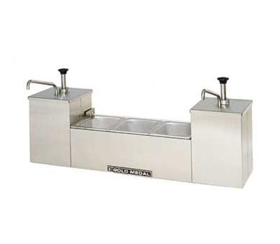 Gold Medal 5030 Condiment Stand w/ 2-Well Containers at 1-gal Capacity Each, Stainless