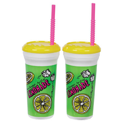Gold Medal 5306 32-oz Lemonade Original Disposable Cups w/ Lids & Straws, 300/Case