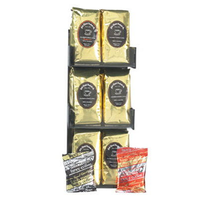 Gold Medal 7016 Coffee Merchandising Rack w/ (18) 12-oz Bags of Coffee
