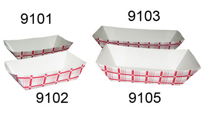 Gold Medal 9105 Disposable Red & White Food Tray, 500/Case