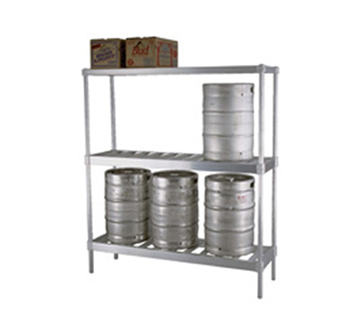 "Eagle Group KRB1893A 3-Sided Beer Keg Rack Frame - 93x18"", Aluminum"