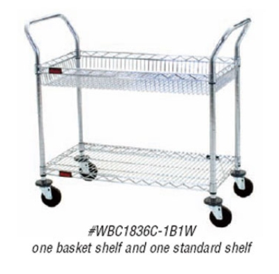 Eagle Group WBC1836C-1B1W Wire Basket Utility Cart - 1-Wire Basket, 1-Wire Shelf, Chrome, 36.5