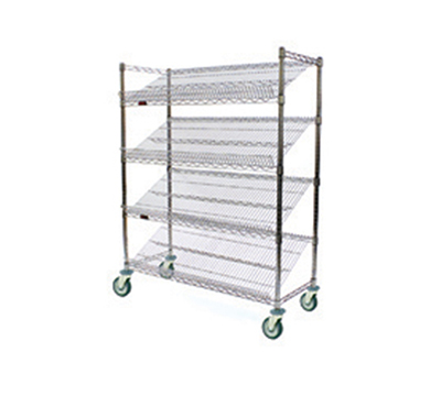 "Eagle Group M1848Z-4 Visual Merchandising Cart - (4) 18x48"" Shelves, Zinc Finish"