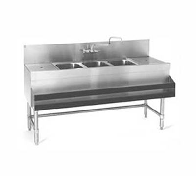 Eagle Group B6-3-LR-19 Underbar Sink - 3-Bowls & Splash Mount, 2-Drainboards, 72x19