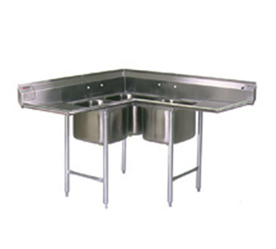 "Eagle Group C314-22-3-18 Corner Sink - (3) 22x22x14"" Bowls & L-R Drainboards, 8"" Splash, Stainless"