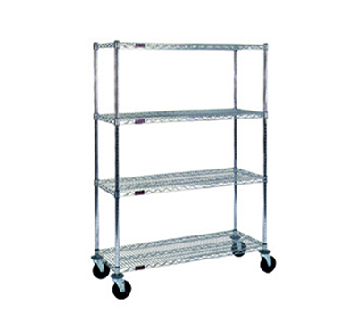 "Eagle Group CC2448Z-SB Stem Caster Cart - (4) 24X48"" Shelf, Resilient Tread, 2-Brake, Zinc"