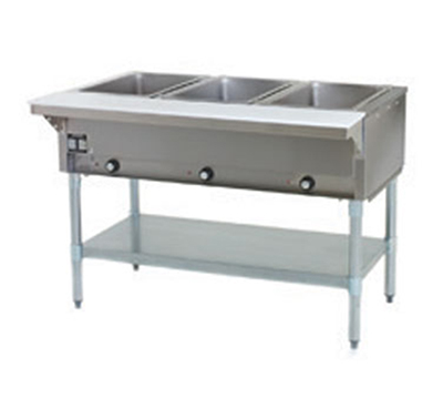 "Eagle Group DHT3-120-1X 48"" Hot Food Table - 3-Wells, Infinite, Cutting Board, Undershelf, 120v"