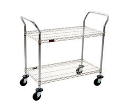 "Eagle Group EU2-2436C Chrome Plated Medium Duty Utility Cart - (2) 24x36"" Wire Shelves"