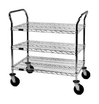 "Eagle Group EU3-2136Z Medium Duty Utility Cart - (3) 21x36"" Zinc Plated Wire Shelves"